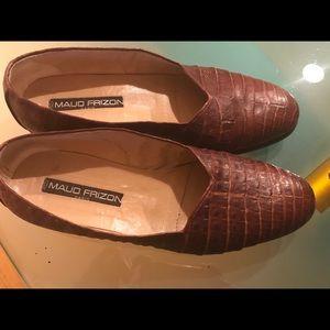 Maude Frison tan alligator Paris belt+loafers '89.